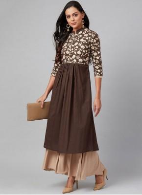 Classy Print Brown Party Wear Kurti