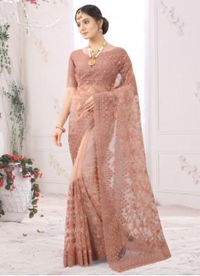 Compelling Embroidered Peach Classic Designer Saree