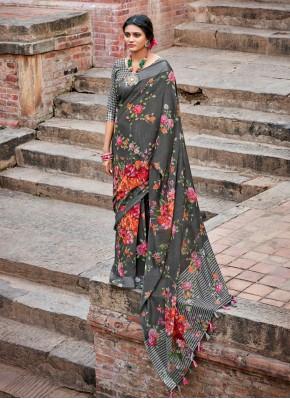 Compelling Grey Cotton Printed Saree
