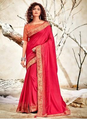 Compelling Patch Border Chanderi Pink Designer Traditional Saree