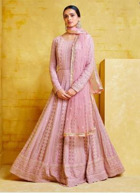 Compelling Pink Embroidered Georgette Designer Sal
