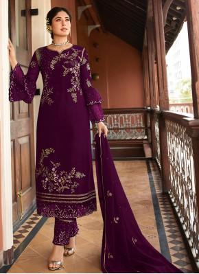 Compelling Purple Festival Designer Straight Suit