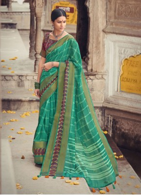 Compelling Sea Green Printed Cotton Silk Printed Saree