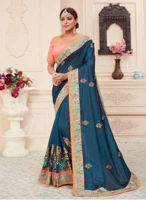 Compelling Silk Patch Border Blue Traditional Designer Saree