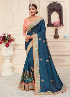 Compelling Silk Patch Border Blue Traditional Designer Saree