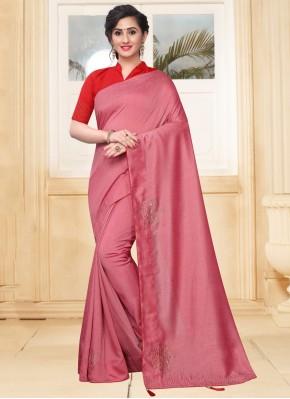 Compelling Stone Pink Silk Designer Saree