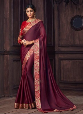 Compelling Wine Embroidered Silk Traditional Designer Saree