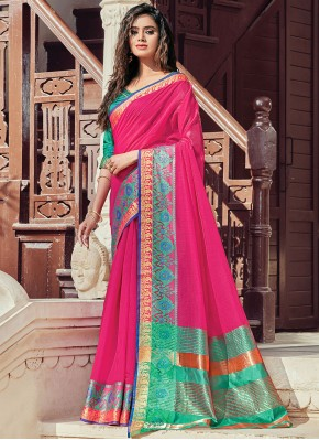 Compelling Woven Handloom Cotton Traditional Saree