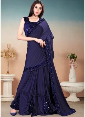 Competent Blue Trendy Saree