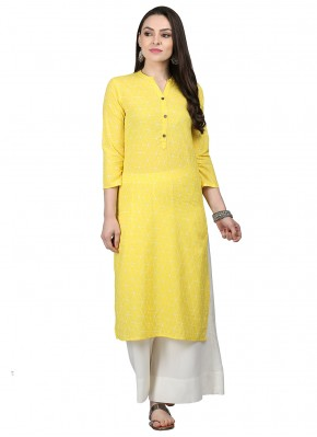 Competent Fancy Yellow Cotton Party Wear Kurti