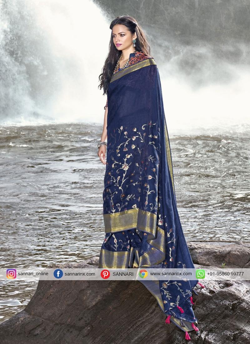 Competent Foil Print Blue Linen Trendy Saree