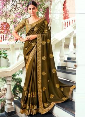 Competent Green Festival Traditional Designer Saree