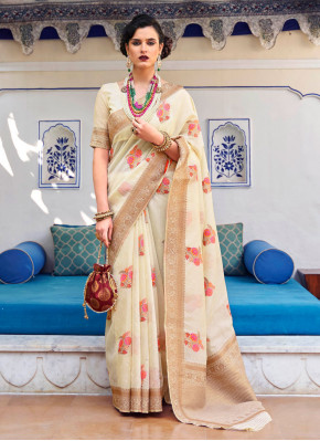 Competent Linen Woven Classic Saree