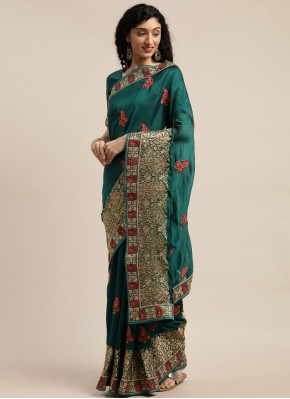 Competent Patch Border Poly Cotton Teal Traditional Saree