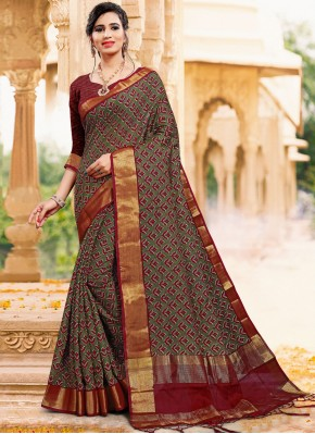 Competent Printed Art Silk Contemporary Saree