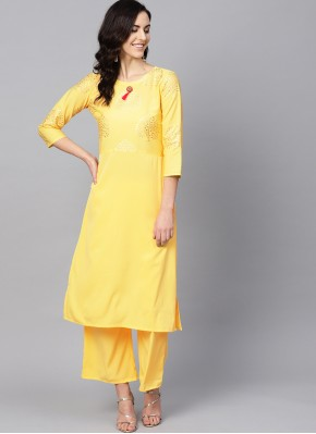 Congenial Abstract Print Yellow Faux Crepe Designer Kurti