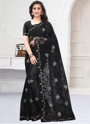 Congenial Embroidered Net Black Classic Designer Saree