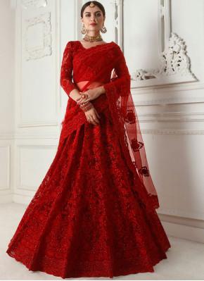 Congenial Embroidered Satin Silk Red Designer A Line Lehenga Choli