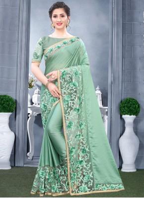 Congenial Sea Green Designer Traditional Saree
