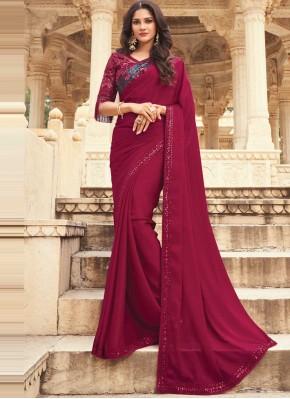 Congenial Silk Maroon Embroidered Designer Traditional Saree