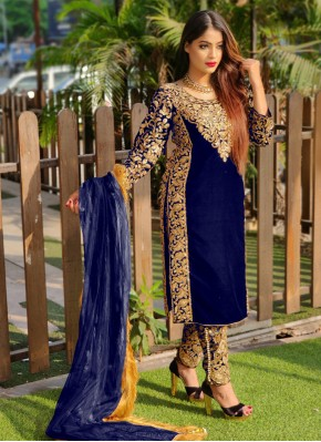 Congenial Stone Work Pant Style Suit