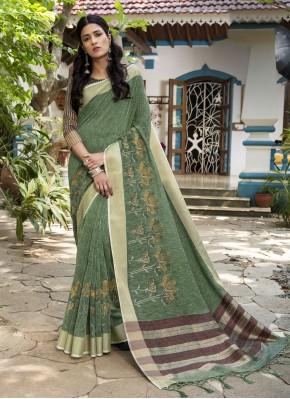 Congenial Woven Sea Green Designer Traditional Saree