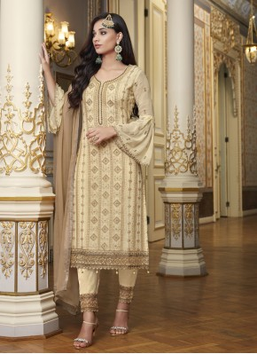 Conspicuous Embroidered Faux Georgette Beige Designer Pakistani Suit