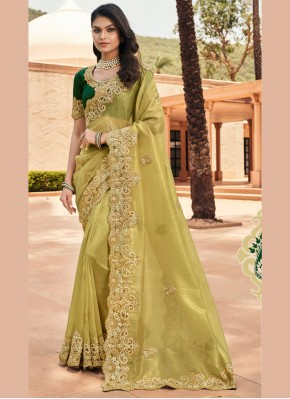 Conspicuous Green Embroidered Georgette Designer Saree