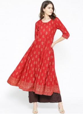 Conspicuous Print Cotton Red Designer Kurti