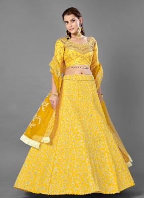 Conspicuous Yellow Mehndi Lehenga Choli