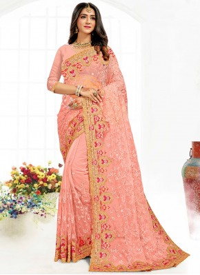 Contemporary Saree Embroidered Net in Peach