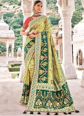 Contemporary Saree Resham Silk in Green