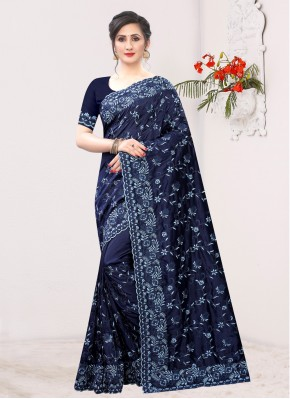 Contemporary Saree Resham Silk in Navy Blue