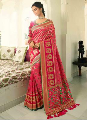 Coral Pink Banarasi Silk Traditional Checks Woven Saree with Patola Pallu
