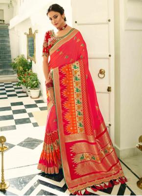 Coral Pink Banarasi Silk Traditional Woven Saree with Animal Motifs