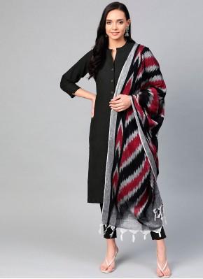Cotton Black Plain Readymade Suit