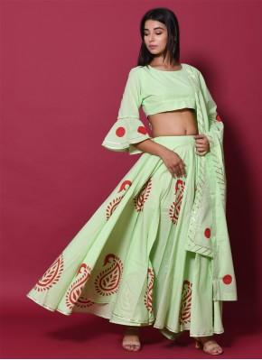Cotton Block Print Green Lehenga Choli