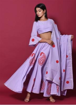 Cotton Block Print Lehenga Choli in Purple