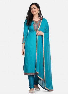 Cotton Blue Embroidered Designer Straight Suit