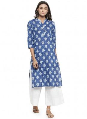 Cotton Blue Print Party Wear Kurti