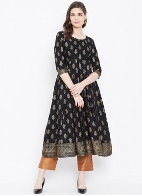 Cotton Designer Kurti in Black