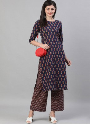 Cotton Designer Kurti in Navy Blue