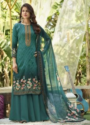 Cotton Designer Palazzo Salwar Suit in Sea Green