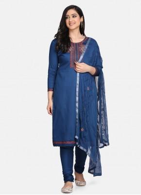Cotton Designer Suit in Blue