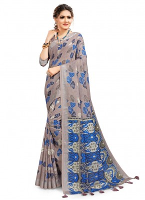 Cotton Digital Print Printed Saree in Multi Colour