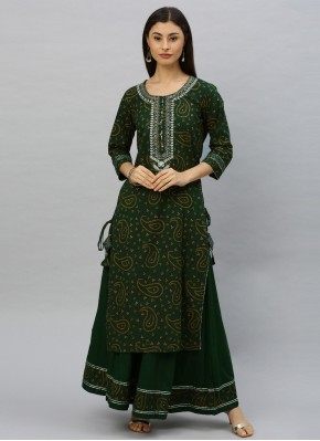 Cotton Embroidered Party Wear Kurti in Green