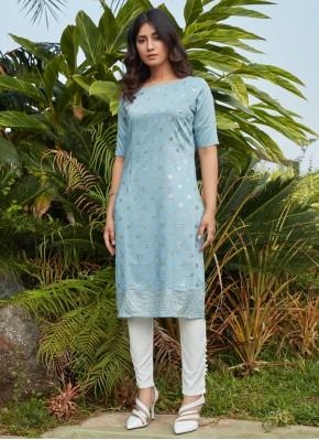 Cotton Fancy Blue Party Wear Kurti