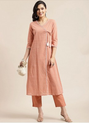 Cotton Fancy Party Wear Kurti in Peach