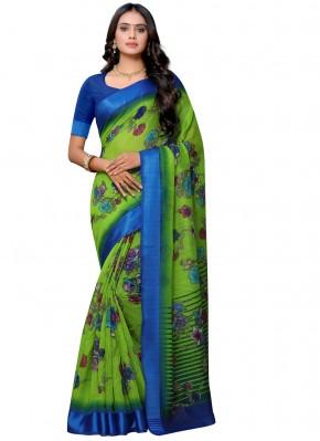 Cotton Floral Print Green Printed Saree