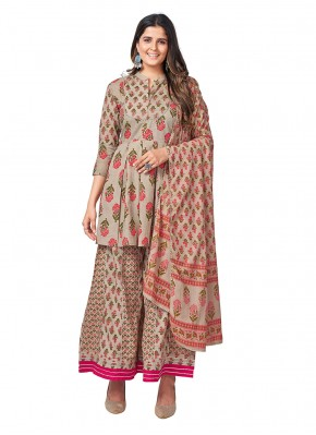 Cotton Grey Printed Readymade Suit